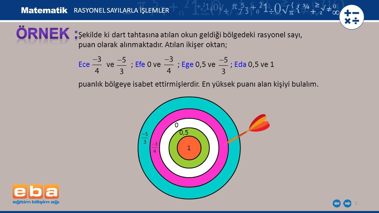 2 Şekilde ki dart tahtasına atılan okun geldiği bölgedeki rasyonel sayı, puan olarak alınmaktadır. Atılan ikişer oktan; Ece ve ; Efe 0 ve ; Ege 0,5 ve