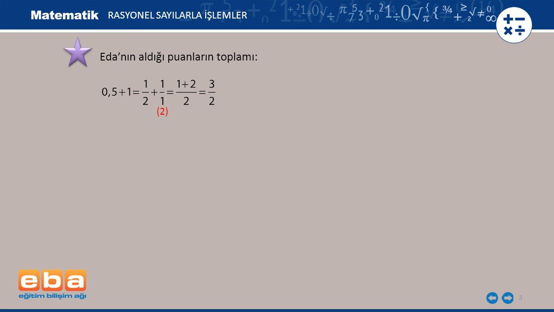 3 Eda'nın aldığı puanların toplamı: (2) RASYONEL SAYILARLA İŞLEMLER