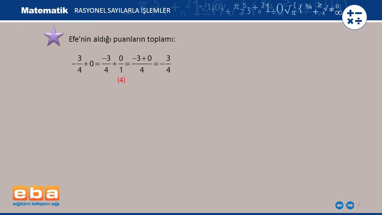 5 Efe'nin aldığı puanların toplamı: (4) RASYONEL SAYILARLA İŞLEMLER