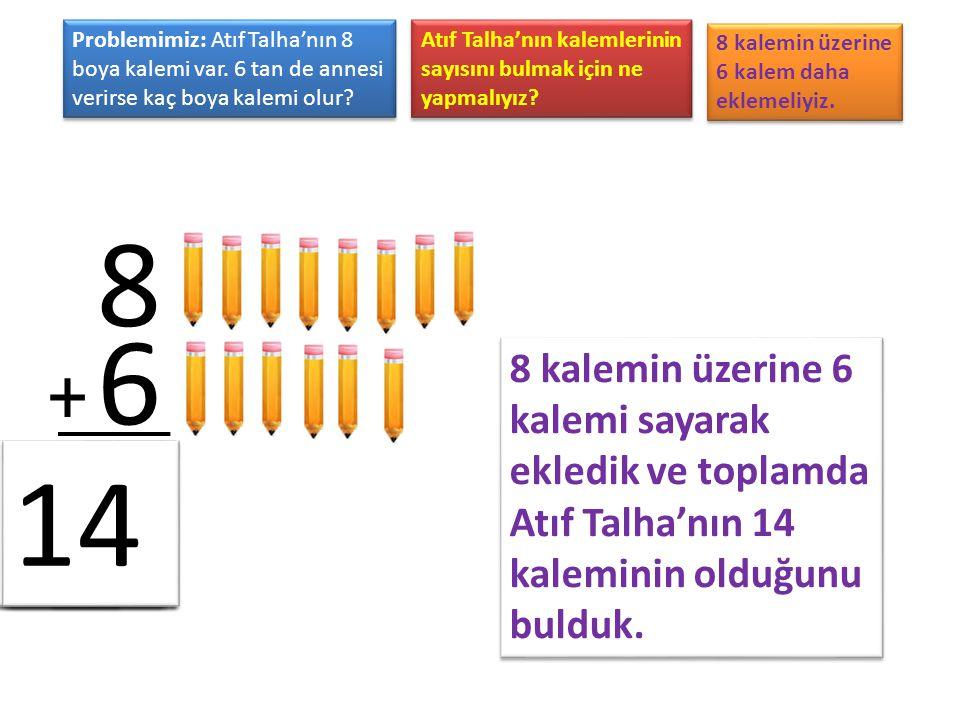 Problemimiz: Atıf Talha'nın 8 boya kalemi var. 6 tan de annesi verirse kaç boya kalemi olur? Atıf Talha'nın kalemlerinin sayısını bulmak için ne yapma