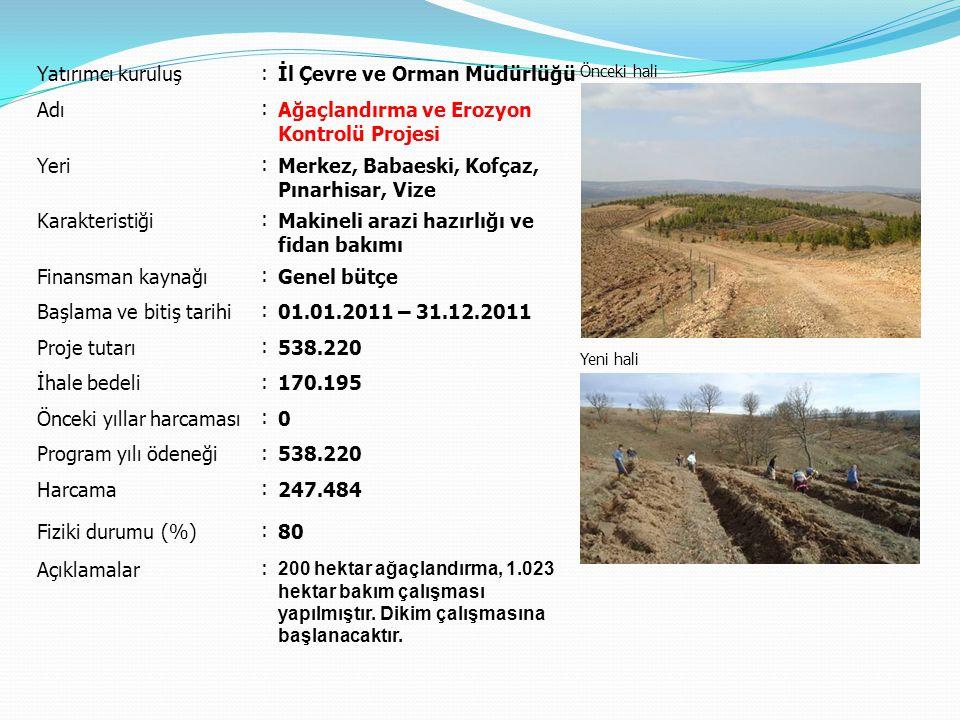 Yatırımcı kuruluş : İl Çevre ve Orman Müdürlüğü Önceki hali Yeni hali Adı : Ağaçlandırma ve Erozyon Kontrolü Projesi Yeri : Merkez, Babaeski, Kofçaz, Pınarhisar, Vize Karakteristiği : Makineli arazi hazırlığı ve fidan bakımı Finansman kaynağı : Genel bütçe Başlama ve bitiş tarihi : 01.01.2011 – 31.12.2011 Proje tutarı : 538.220 İhale bedeli : 170.195 Önceki yıllar harcaması : 0 Program yılı ödeneği : 538.220 Harcama : 247.484 Fiziki durumu (%) : 80 Açıklamalar : 200 hektar ağaçlandırma, 1.023 hektar bakım çalışması yapılmıştır.