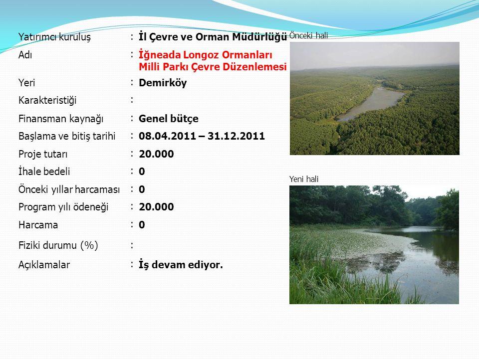 Yatırımcı kuruluş : İl Çevre ve Orman Müdürlüğü Önceki hali Yeni hali Adı : İğneada Longoz Ormanları Milli Parkı Çevre Düzenlemesi Yeri : Demirköy Kar