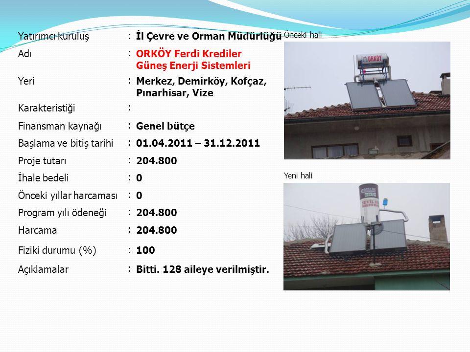 Yatırımcı kuruluş : İl Çevre ve Orman Müdürlüğü Önceki hali Yeni hali Adı : ORKÖY Ferdi Krediler Ekoturizm Yeri : Demirköy, Vize Karakteristiği : Finansman kaynağı : Genel bütçe Başlama ve bitiş tarihi : 01.04.2011 – 31.12.2011 Proje tutarı : 250.000 İhale bedeli : 0 Önceki yıllar harcaması : 0 Program yılı ödeneği : 250.000 Harcama : 250.000 Fiziki durumu (%) : 100 Açıklamalar : Bitti.