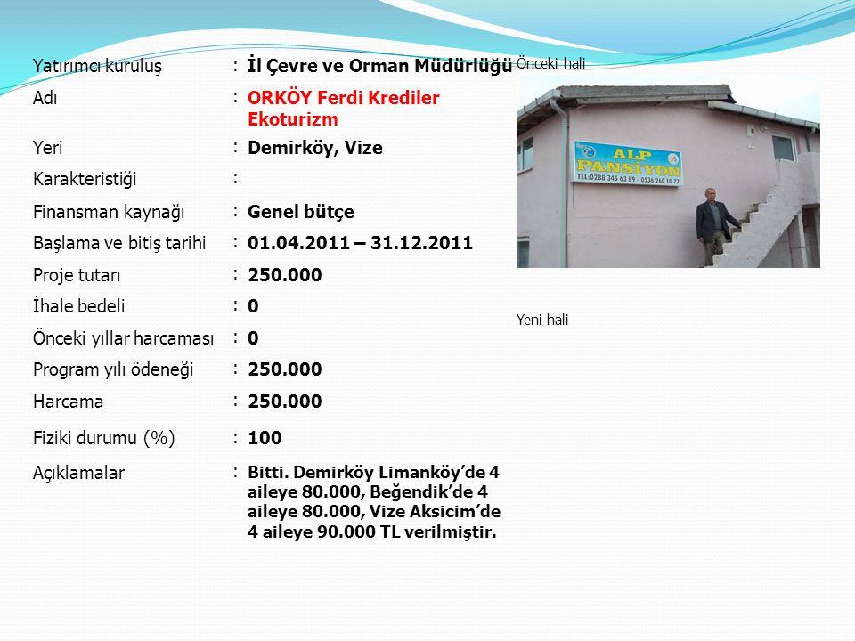 Yatırımcı kuruluş : İl Çevre ve Orman Müdürlüğü Önceki hali Yeni hali Adı : ORKÖY Ferdi Krediler Ekoturizm Yeri : Demirköy, Vize Karakteristiği : Fina