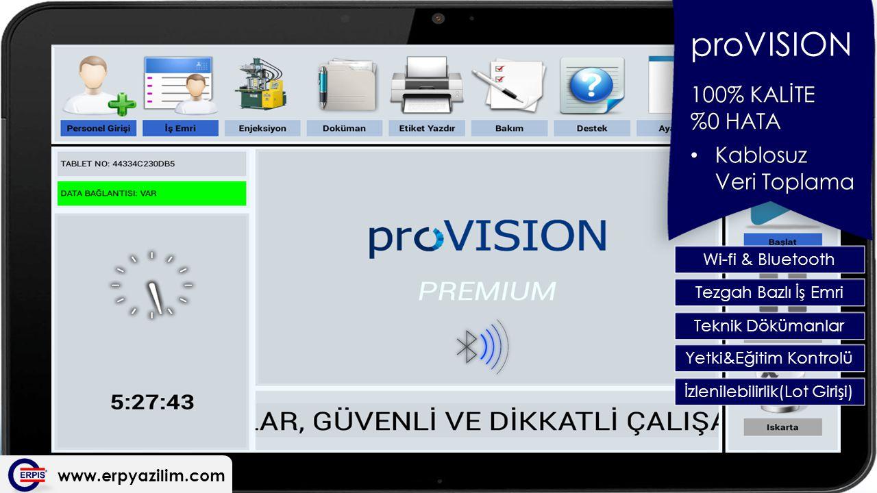 www.erpyazilim.com proVISION 100% KALİTE %0 HATA Wi-fi & Bluetooth Kablosuz Veri Toplama Kablosuz Veri Toplama Tezgah Bazlı İş Emri Teknik Dökümanlar