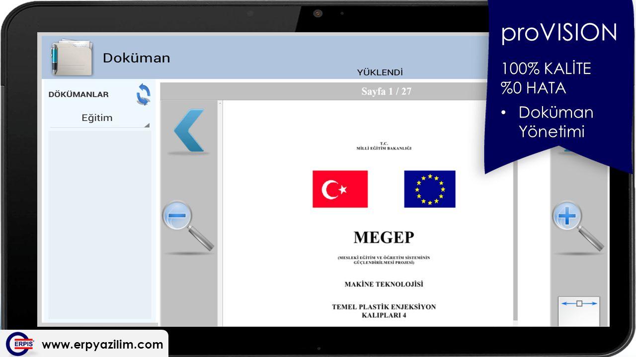 www.erpyazilim.com proVISION 100% KALİTE %0 HATA Doküman Yönetimi Doküman Yönetimi