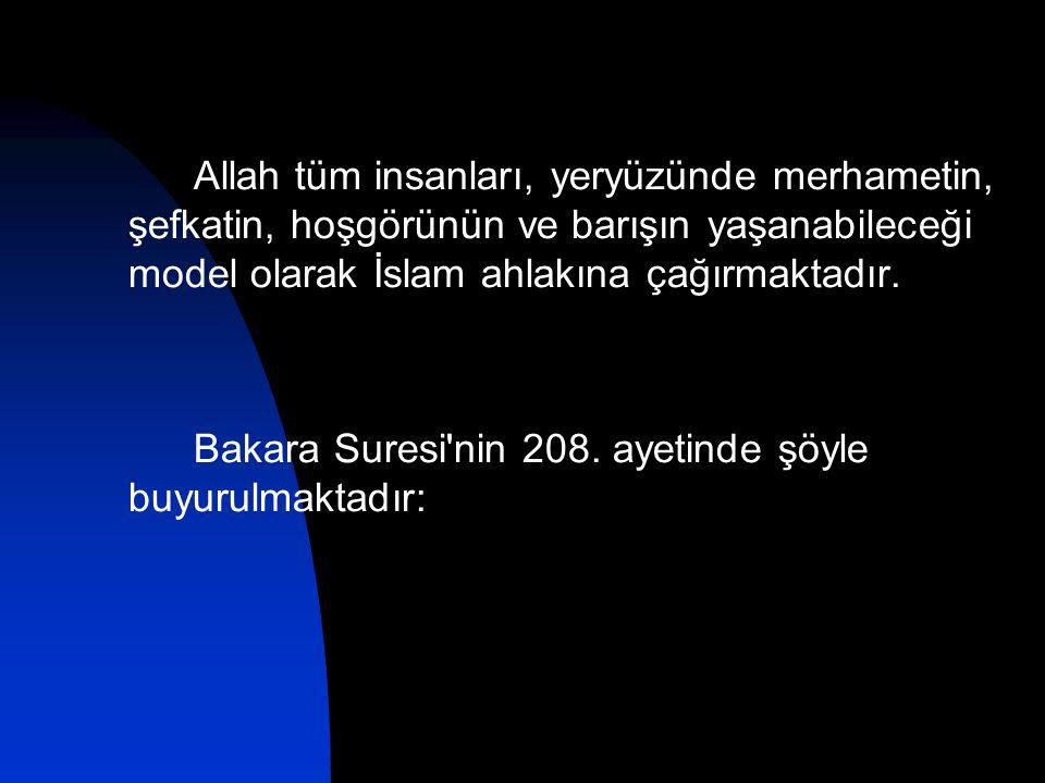 Allah tüm insanları, yeryüzünde merhametin, şefkatin, hoşgörünün ve barışın yaşanabileceği model olarak İslam ahlakına çağırmaktadır. Bakara Suresi'ni