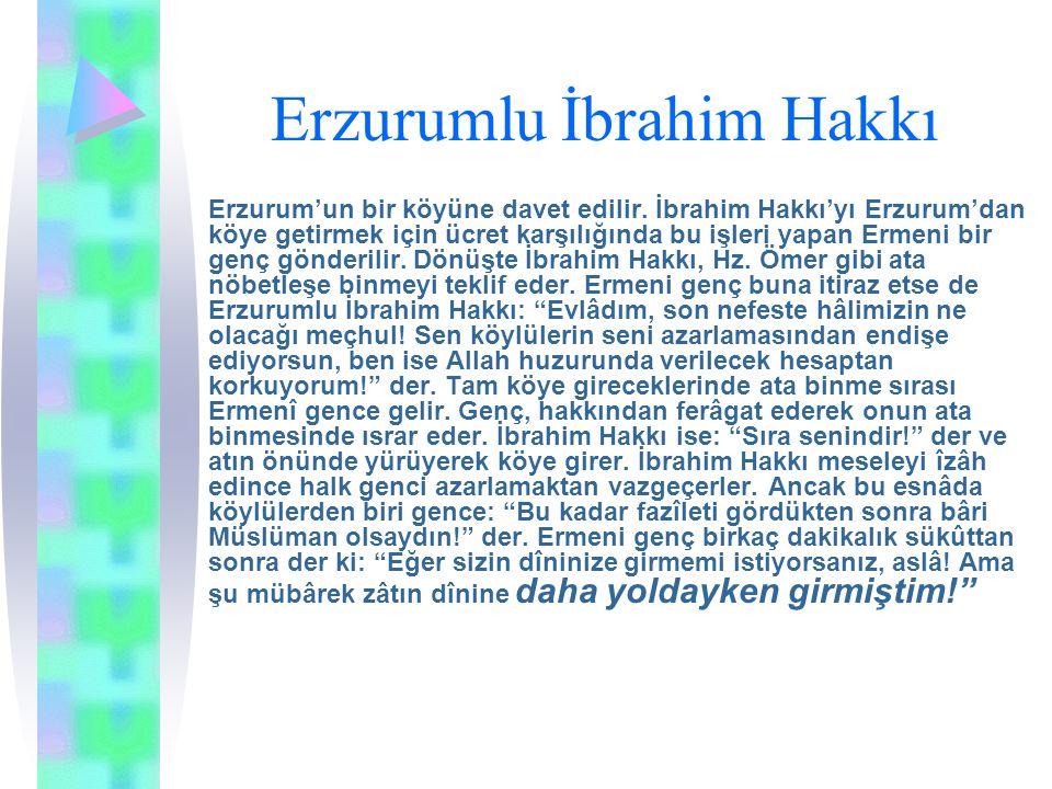 Erzurumlu İbrahim Hakkı Erzurum'un bir köyüne davet edilir. İbrahim Hakkı'yı Erzurum'dan köye getirmek için ücret karşılığında bu işleri yapan Ermeni