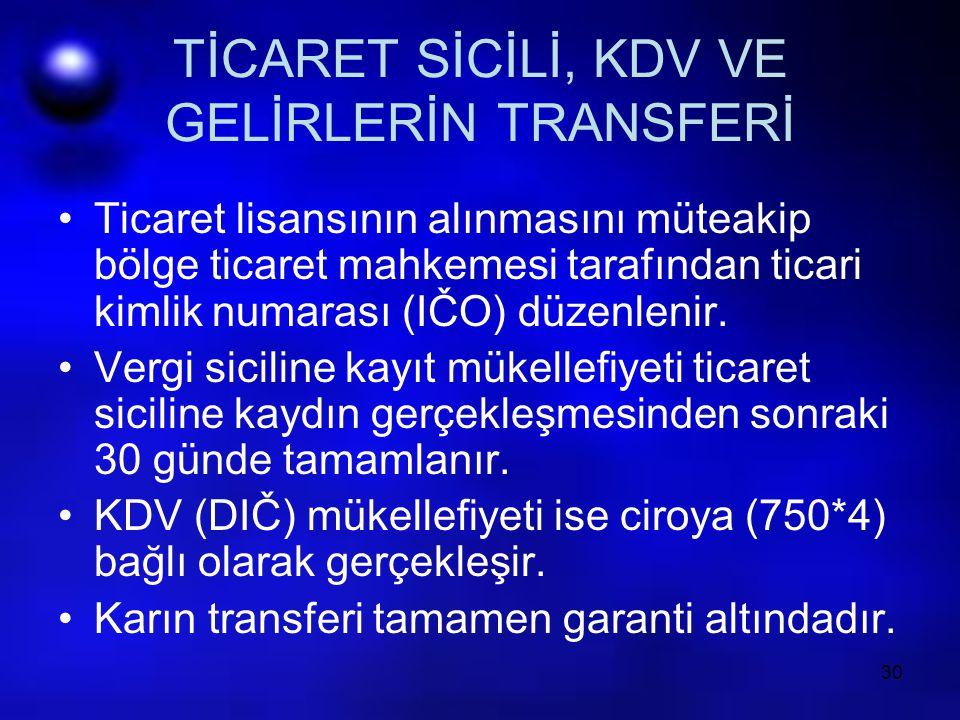 30 TİCARET SİCİLİ, KDV VE GELİRLERİN TRANSFERİ Ticaret lisansının alınmasını müteakip bölge ticaret mahkemesi tarafından ticari kimlik numarası (IČO)