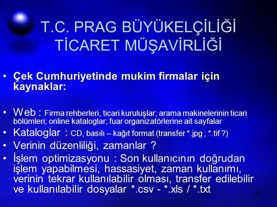 35 T.C. PRAG BÜYÜKELÇİLİĞİ TİCARET MÜŞAVİRLİĞİ Çek Cumhuriyetinde mukim firmalar için kaynaklar: Web : Firma rehberleri, ticari kuruluşlar; arama maki