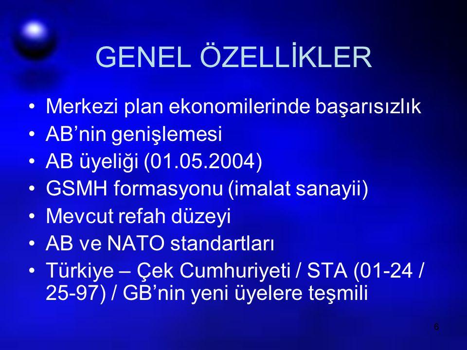 6 GENEL ÖZELLİKLER Merkezi plan ekonomilerinde başarısızlık AB'nin genişlemesi AB üyeliği (01.05.2004) GSMH formasyonu (imalat sanayii) Mevcut refah d