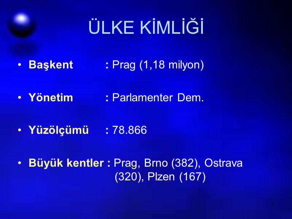 7 ÜLKE KİMLİĞİ Başkent : Prag (1,18 milyon) Yönetim : Parlamenter Dem. Yüzölçümü : 78.866 Büyük kentler : Prag, Brno (382), Ostrava (320), Plzen (167)