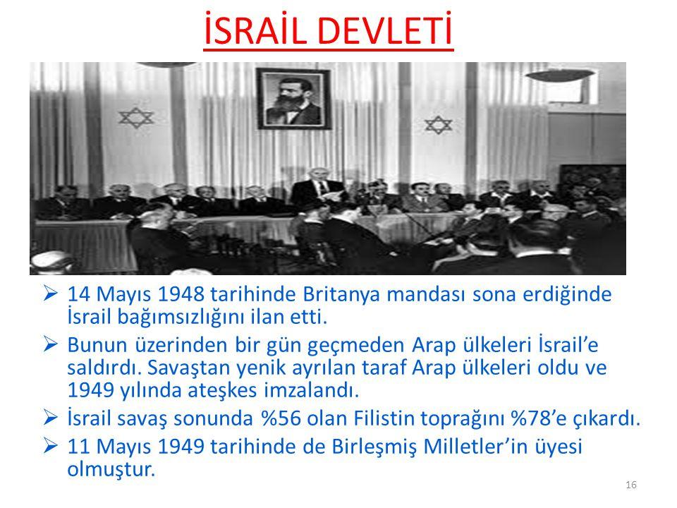 İSRAİL DEVLETİ  14 Mayıs 1948 tarihinde Britanya mandası sona erdiğinde İsrail bağımsızlığını ilan etti.  Bunun üzerinden bir gün geçmeden Arap ülke