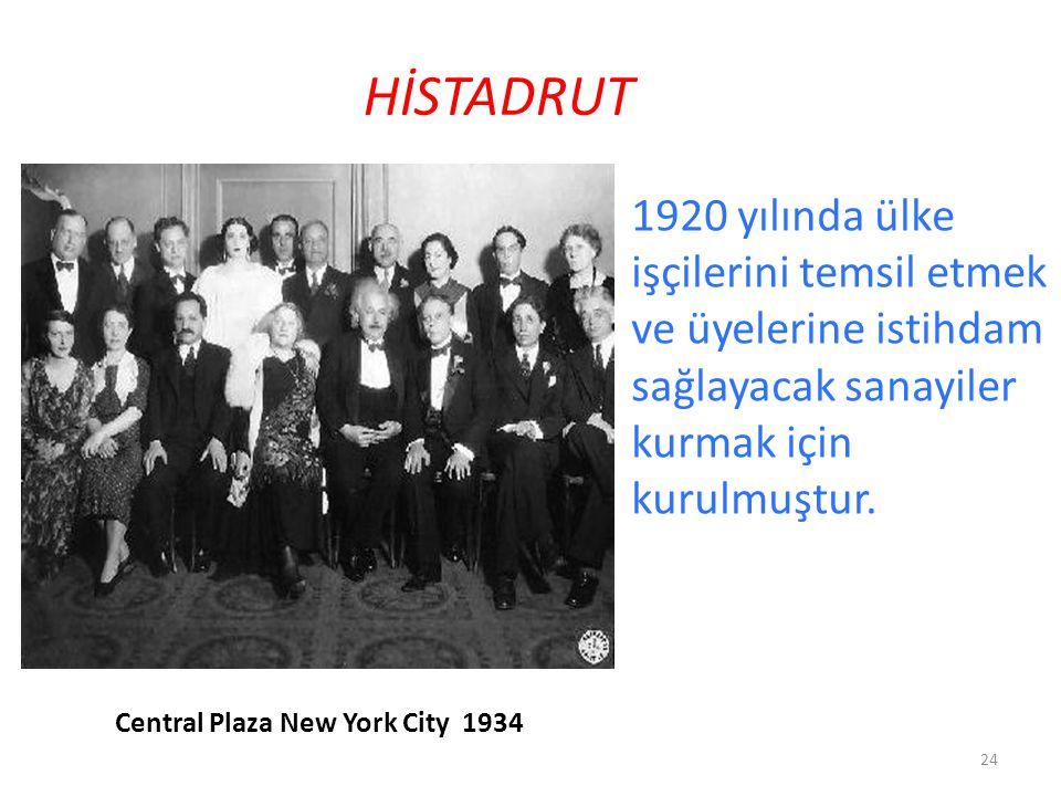 HİSTADRUT 1920 yılında ülke işçilerini temsil etmek ve üyelerine istihdam sağlayacak sanayiler kurmak için kurulmuştur. 24 Central Plaza New York City