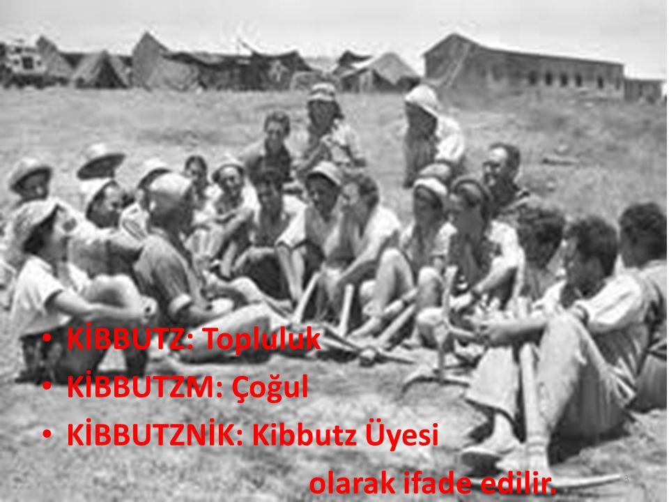 KİBBUTZ: Topluluk KİBBUTZM: Çoğul KİBBUTZNİK: Kibbutz Üyesi olarak ifade edilir. 3