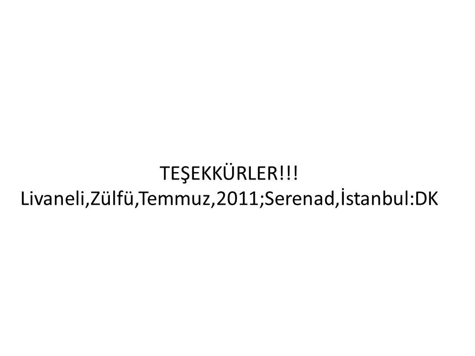 TEŞEKKÜRLER!!! Livaneli,Zülfü,Temmuz,2011;Serenad,İstanbul:DK