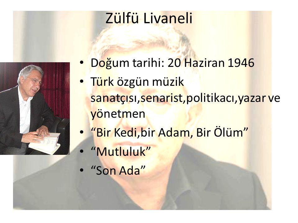 """Zülfü Livaneli Doğum tarihi: 20 Haziran 1946 Türk özgün müzik sanatçısı,senarist,politikacı,yazar ve yönetmen """"Bir Kedi,bir Adam, Bir Ölüm"""" """"Mutluluk"""""""