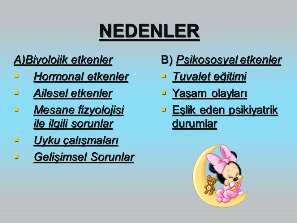 NEDENLER A)Biyolojik etkenler  Hormonal etkenler  Ailesel etkenler  Mesane fizyolojisi ile ilgili sorunlar  Uyku çalışmaları  Gelişimsel Sorunlar