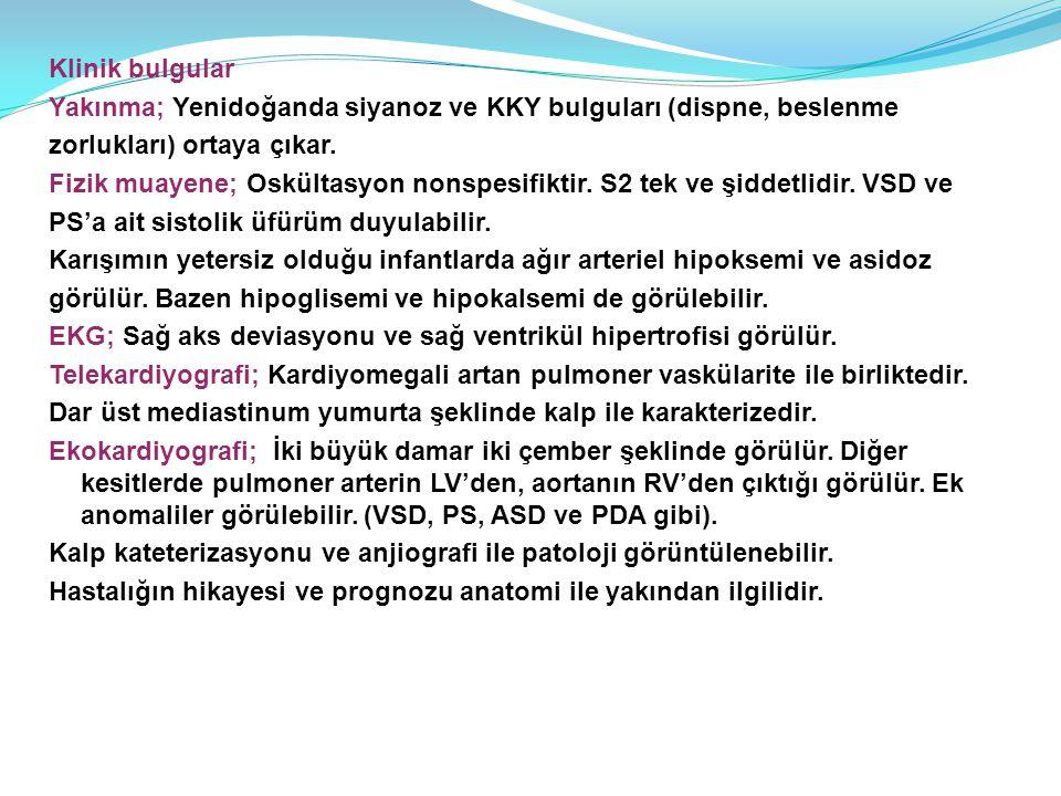 Klinik bulgular Yakınma; Yenidoğanda siyanoz ve KKY bulguları (dispne, beslenme zorlukları) ortaya çıkar. Fizik muayene; Oskültasyon nonspesifiktir. S