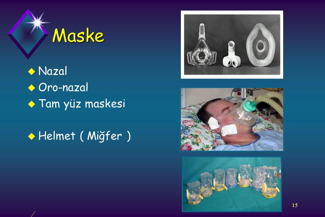 15 Maske u Nazal u Oro-nazal u Tam yüz maskesi u Helmet ( Miğfer )