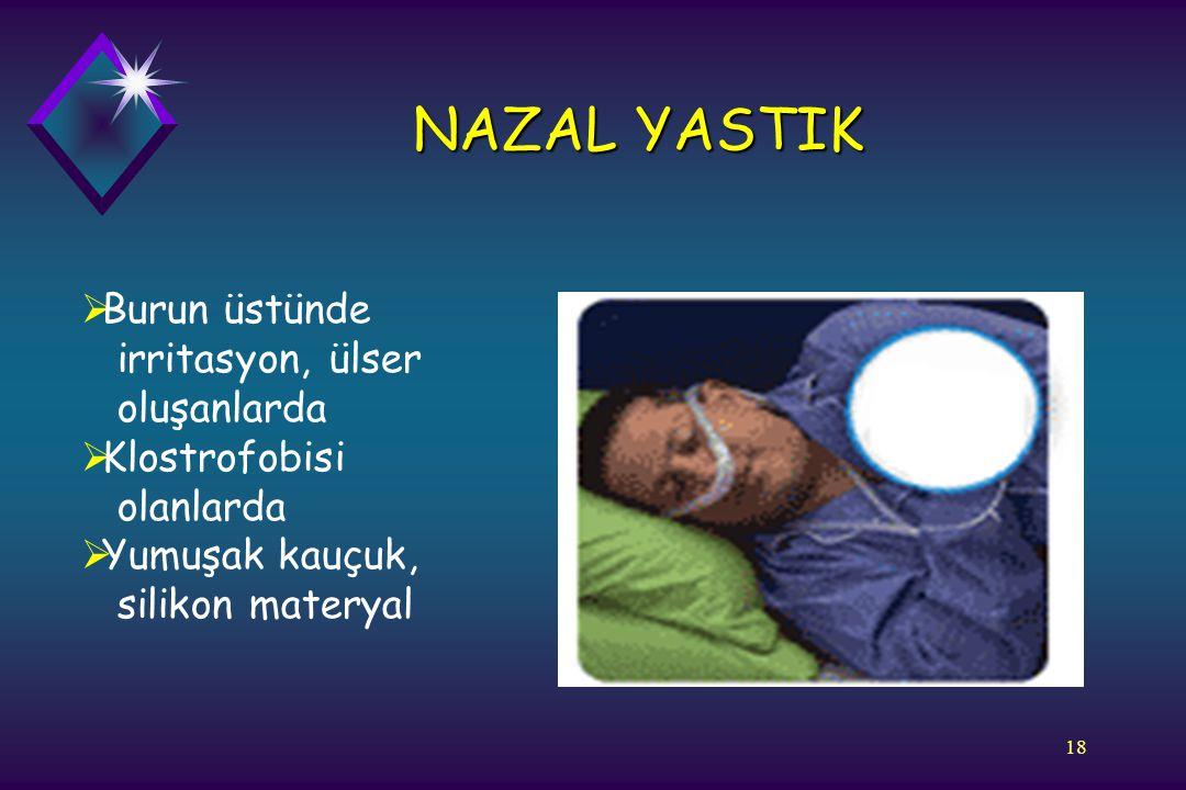 18 NAZAL YASTIK  Burun üstünde irritasyon, ülser oluşanlarda  Klostrofobisi olanlarda  Yumuşak kauçuk, silikon materyal