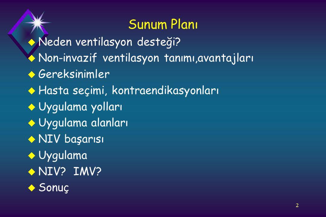 2 Sunum Planı u Neden ventilasyon desteği? u Non-invazif ventilasyon tanımı,avantajları u Gereksinimler u Hasta seçimi, kontraendikasyonları u Uygulam