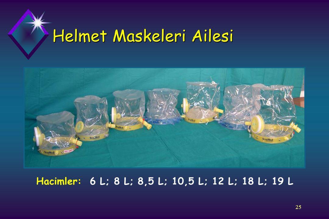 25 Helmet Maskeleri Ailesi Hacimler: 6 L; 8 L; 8,5 L; 10,5 L; 12 L; 18 L; 19 L