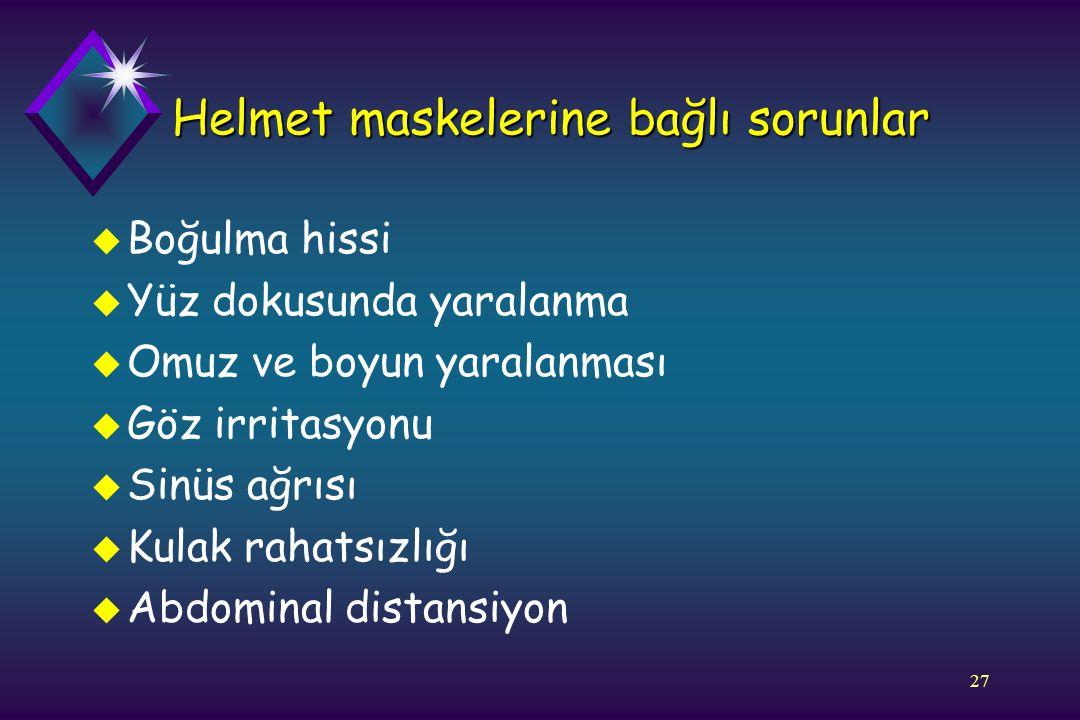 27 Helmet maskelerine bağlı sorunlar u Boğulma hissi u Yüz dokusunda yaralanma u Omuz ve boyun yaralanması u Göz irritasyonu u Sinüs ağrısı u Kulak ra