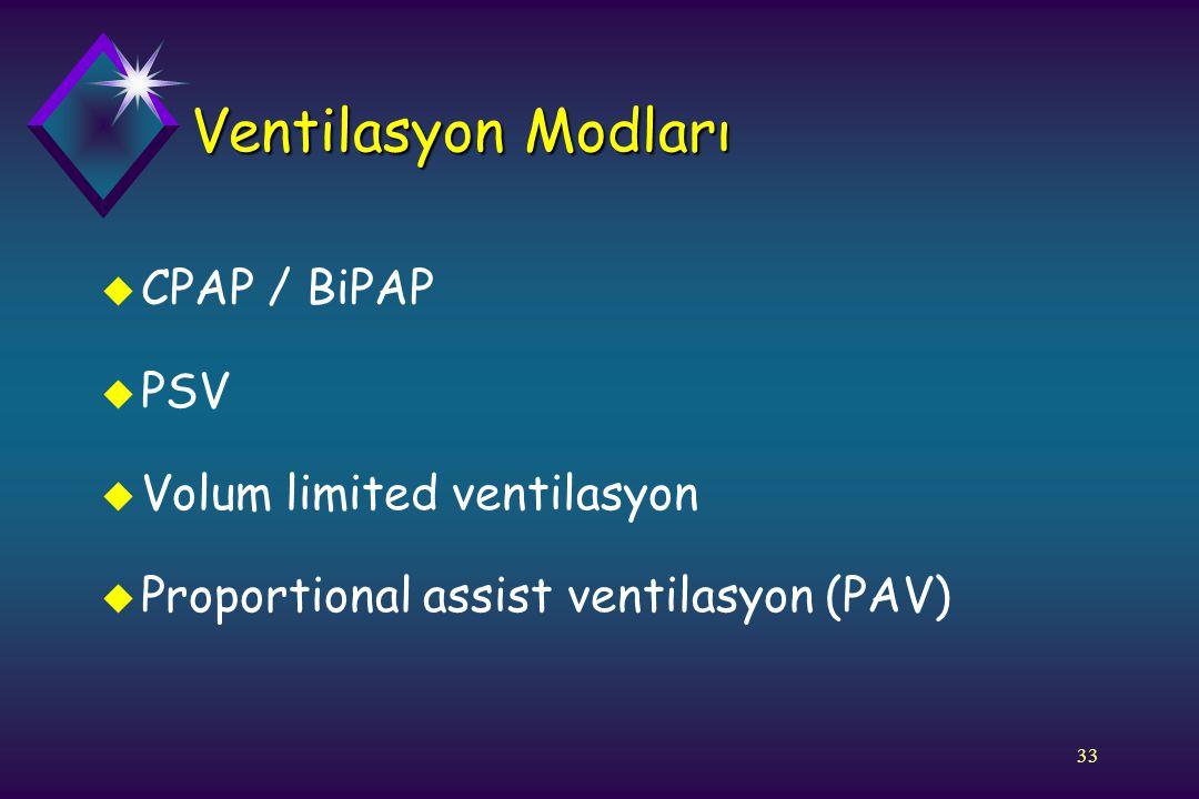33 Ventilasyon Modları u CPAP / BiPAP u PSV u Volum limited ventilasyon u Proportional assist ventilasyon (PAV)
