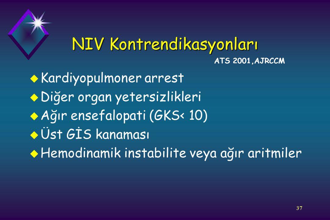 37 u Kardiyopulmoner arrest u Diğer organ yetersizlikleri u Ağır ensefalopati (GKS< 10) u Üst GİS kanaması u Hemodinamik instabilite veya ağır aritmil
