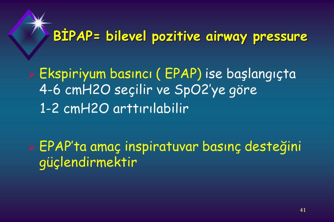 41 BİPAP= bilevel pozitive airway pressure  Ekspiriyum basıncı ( EPAP) ise başlangıçta 4-6 cmH2O seçilir ve SpO2'ye göre 1-2 cmH2O arttırılabilir  E