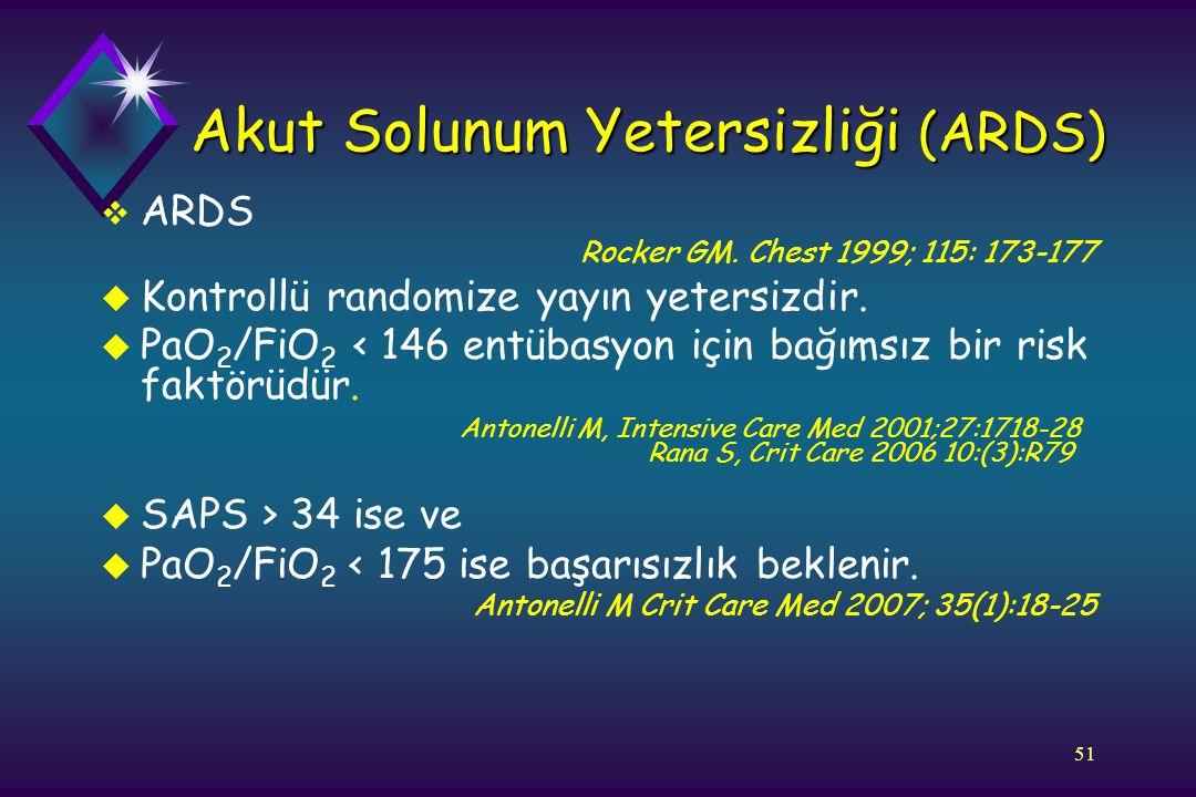 51 Akut Solunum Yetersizliği (ARDS)  ARDS Rocker GM. Chest 1999; 115: 173-177 u Kontrollü randomize yayın yetersizdir. u PaO 2 /FiO 2 < 146 entübasyo