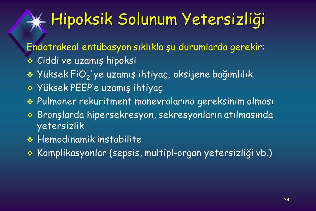 54 Endotrakeal entübasyon sıklıkla şu durumlarda gerekir:  Ciddi ve uzamış hipoksi  Yüksek FiO 2 'ye uzamış ihtiyaç, oksijene bağımlılık  Yüksek PE