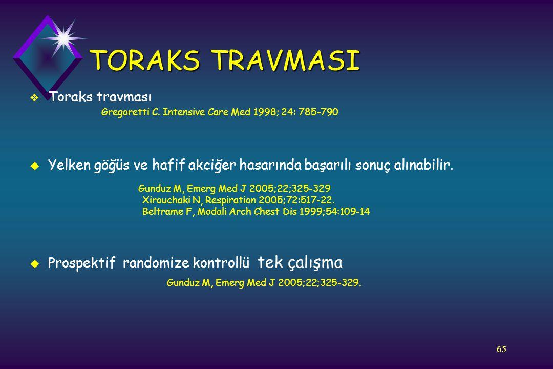 65 TORAKS TRAVMASI  Toraks travması Gregoretti C. Intensive Care Med 1998; 24: 785-790 u Yelken göğüs ve hafif akciğer hasarında başarılı sonuç alına