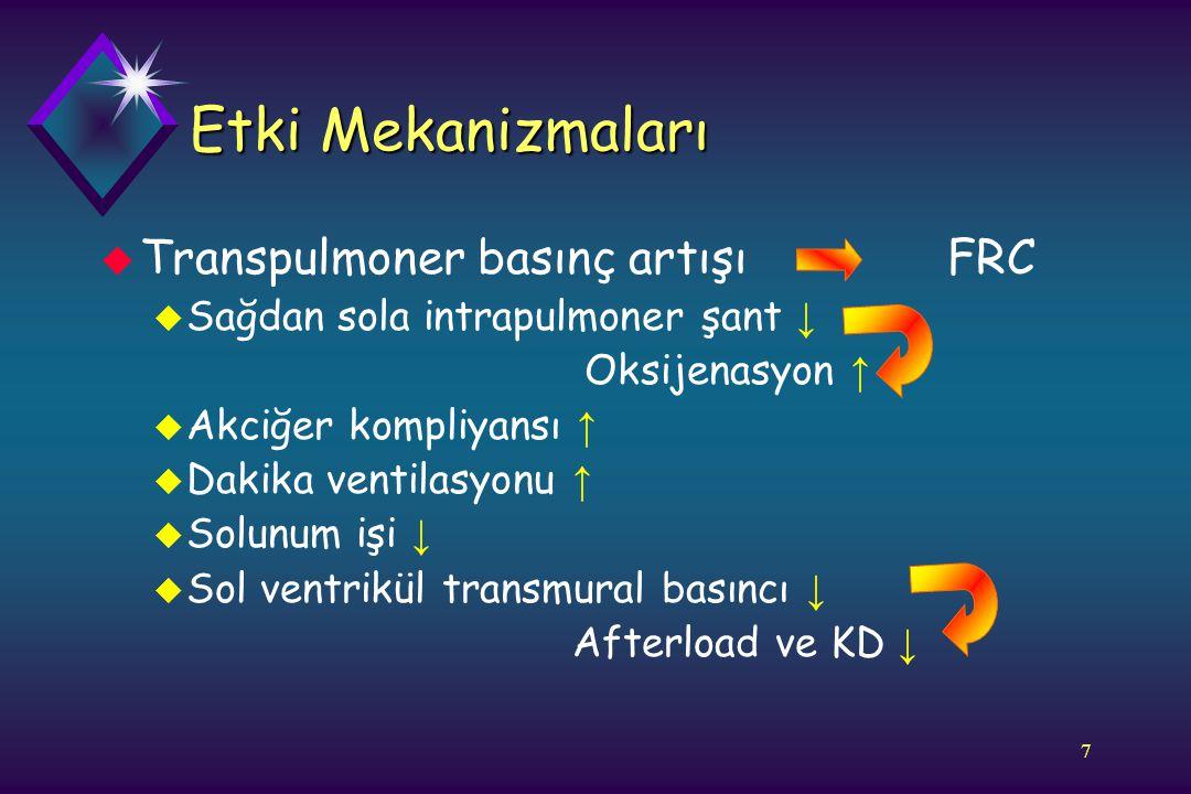 7 Etki Mekanizmaları u Transpulmoner basınç artışı FRC u Sağdan sola intrapulmoner şant ↓ Oksijenasyon ↑ u Akciğer kompliyansı ↑ u Dakika ventilasyonu