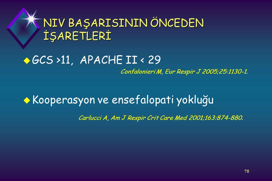 78 NIV BAŞARISININ ÖNCEDEN İŞARETLERİ u GCS >11, APACHE II < 29 Confalonieri M, Eur Respir J 2005;25:1130-1. u Kooperasyon ve ensefalopati yokluğu Car