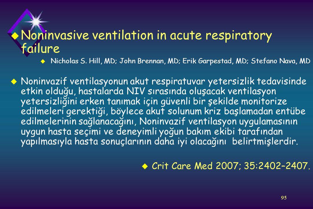 95 u Noninvasive ventilation in acute respiratory failure u Nicholas S. Hill, MD; John Brennan, MD; Erik Garpestad, MD; Stefano Nava, MD u Noninvazif