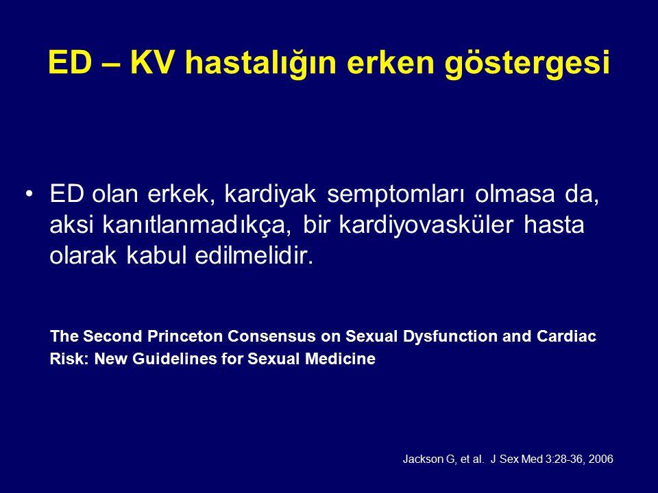 ED – KV hastalığın erken göstergesi ED olan erkek, kardiyak semptomları olmasa da, aksi kanıtlanmadıkça, bir kardiyovasküler hasta olarak kabul edilmelidir.