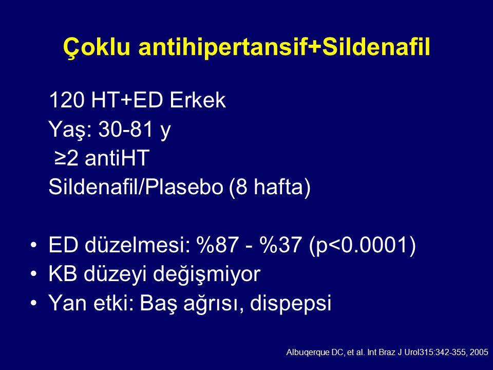 Çoklu antihipertansif+Sildenafil 120 HT+ED Erkek Yaş: 30-81 y ≥2 antiHT Sildenafil/Plasebo (8 hafta) ED düzelmesi: %87 - %37 (p<0.0001) KB düzeyi değişmiyor Yan etki: Baş ağrısı, dispepsi Albuqerque DC, et al.