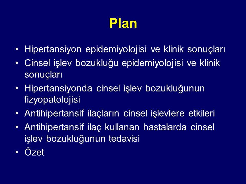 Plan Hipertansiyon epidemiyolojisi ve klinik sonuçları Cinsel işlev bozukluğu epidemiyolojisi ve klinik sonuçları Hipertansiyonda cinsel işlev bozukluğunun fizyopatolojisi Antihipertansif ilaçların cinsel işlevlere etkileri Antihipertansif ilaç kullanan hastalarda cinsel işlev bozukluğunun tedavisi Özet