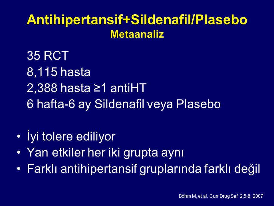 Antihipertansif+Sildenafil/Plasebo Metaanaliz 35 RCT 8,115 hasta 2,388 hasta ≥1 antiHT 6 hafta-6 ay Sildenafil veya Plasebo İyi tolere ediliyor Yan etkiler her iki grupta aynı Farklı antihipertansif gruplarında farklı değil Böhm M, et al.