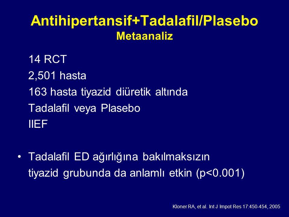 Antihipertansif+Tadalafil/Plasebo Metaanaliz 14 RCT 2,501 hasta 163 hasta tiyazid diüretik altında Tadalafil veya Plasebo IIEF Tadalafil ED ağırlığına bakılmaksızın tiyazid grubunda da anlamlı etkin (p<0.001) Kloner RA, et al.