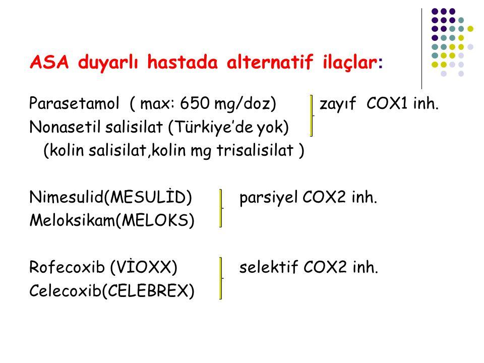 ASA duyarlı hastada alternatif ilaçlar : Parasetamol ( max: 650 mg/doz) zayıf COX1 inh. Nonasetil salisilat (Türkiye'de yok) (kolin salisilat,kolin mg