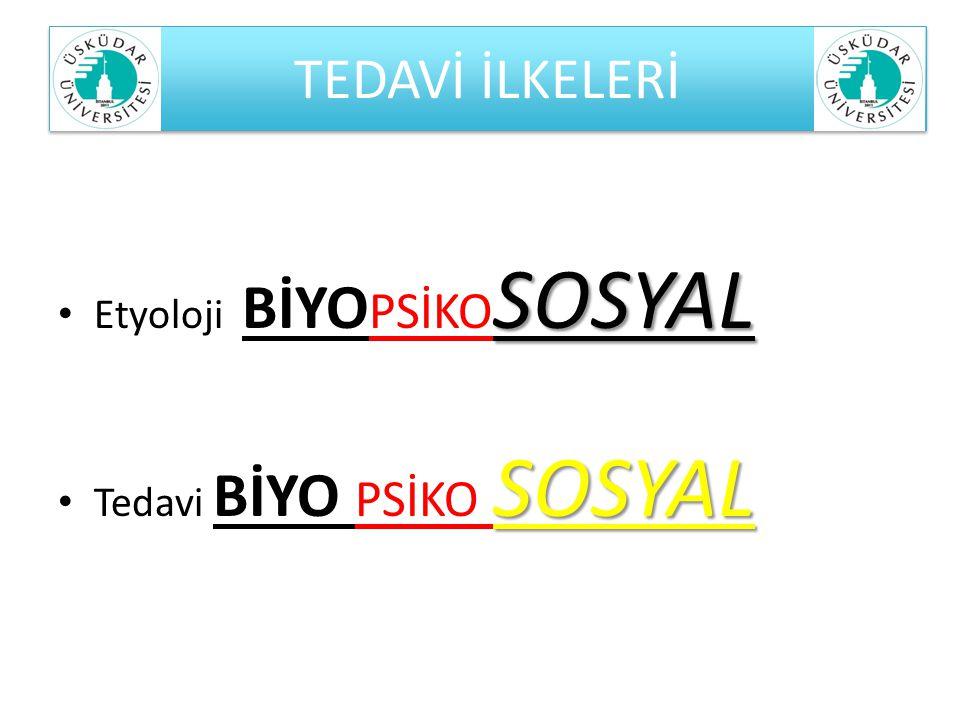 SOSYAL Etyoloji BİYO PSİKO SOSYAL SOSYAL Tedavi BİYO PSİKO SOSYAL TEDAVİ İLKELERİ