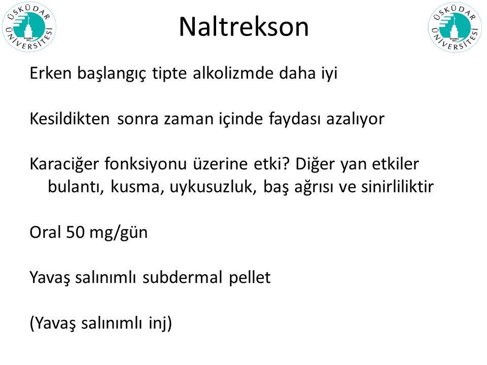 Naltrekson Erken başlangıç tipte alkolizmde daha iyi Kesildikten sonra zaman içinde faydası azalıyor Karaciğer fonksiyonu üzerine etki? Diğer yan etki