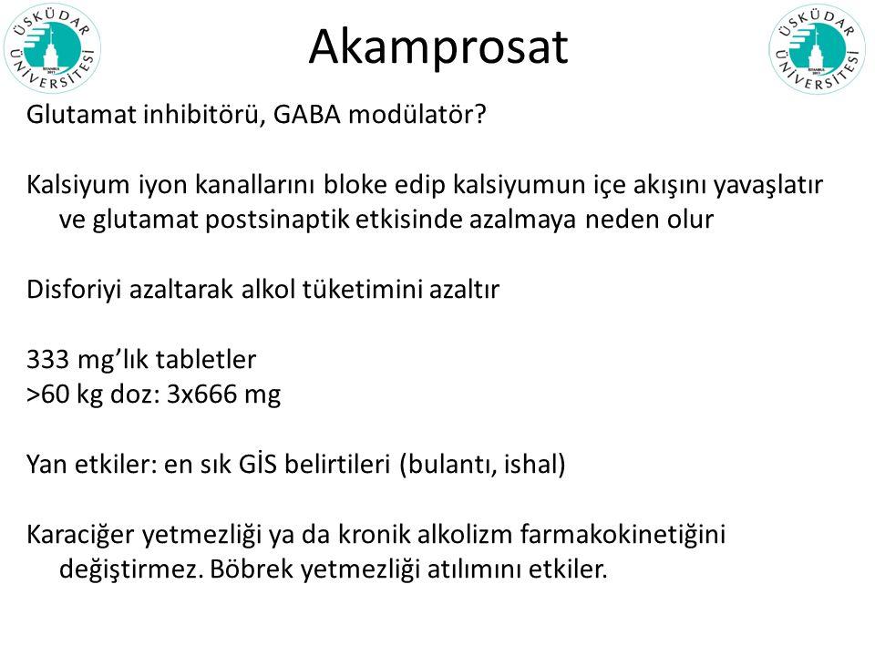 Akamprosat Glutamat inhibitörü, GABA modülatör? Kalsiyum iyon kanallarını bloke edip kalsiyumun içe akışını yavaşlatır ve glutamat postsinaptik etkisi