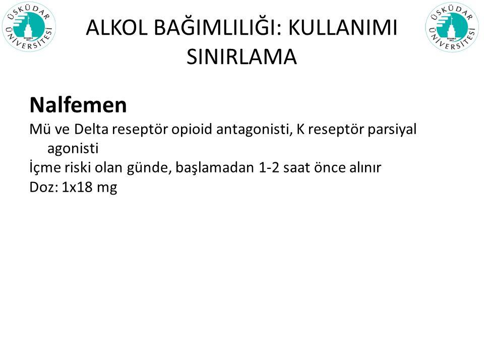 ALKOL BAĞIMLILIĞI: KULLANIMI SINIRLAMA Nalfemen Mü ve Delta reseptör opioid antagonisti, K reseptör parsiyal agonisti İçme riski olan günde, başlamada