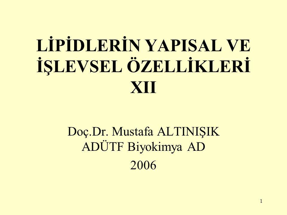 1 LİPİDLERİN YAPISAL VE İŞLEVSEL ÖZELLİKLERİ XII Doç.Dr. Mustafa ALTINIŞIK ADÜTF Biyokimya AD 2006