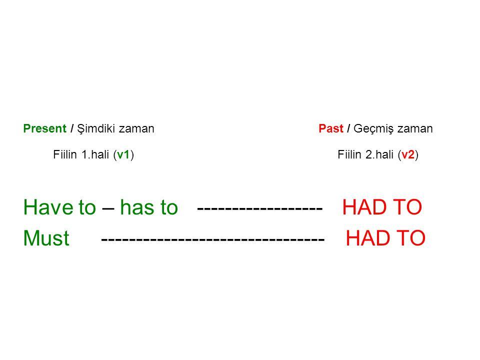 Present / Şimdiki zaman Past / Geçmiş zaman Fiilin 1.hali (v1) Fiilin 2.hali (v2) Have to – has to------------------ HAD TO Must----------------------
