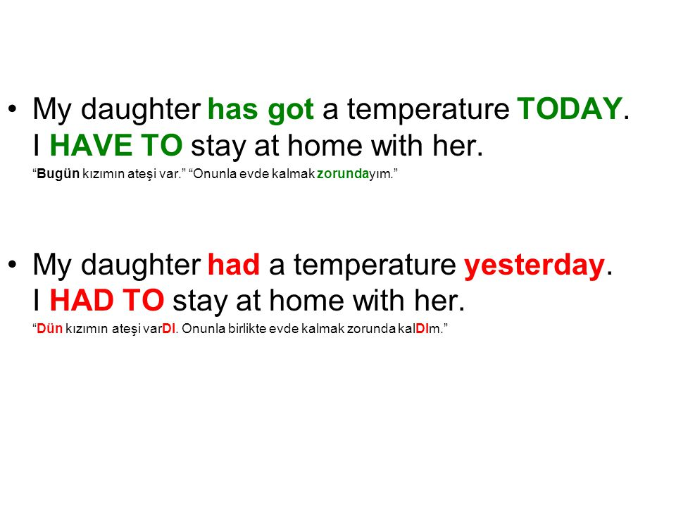My daughter has got a temperature TODAY.I HAVE TO stay at home with her.